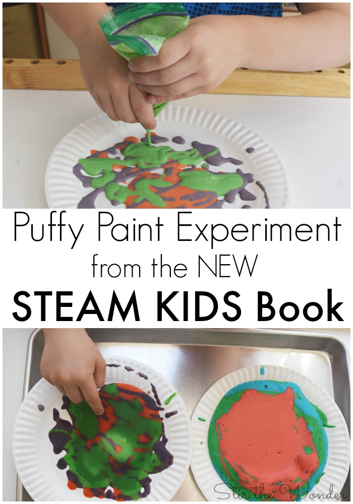 The Puffy Paint Experiment from the new STEAM Kids book is a fun & messy activity that would be a fun way to reinforce the letter 'P'.