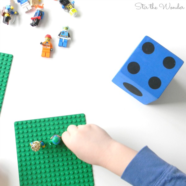 playing LEGO minifigure math game