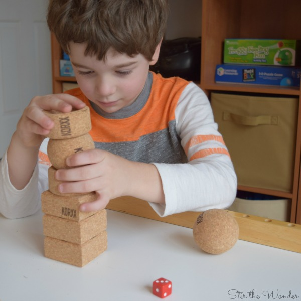 stacking KORXX Limbo cork blocks for a simple addition activity