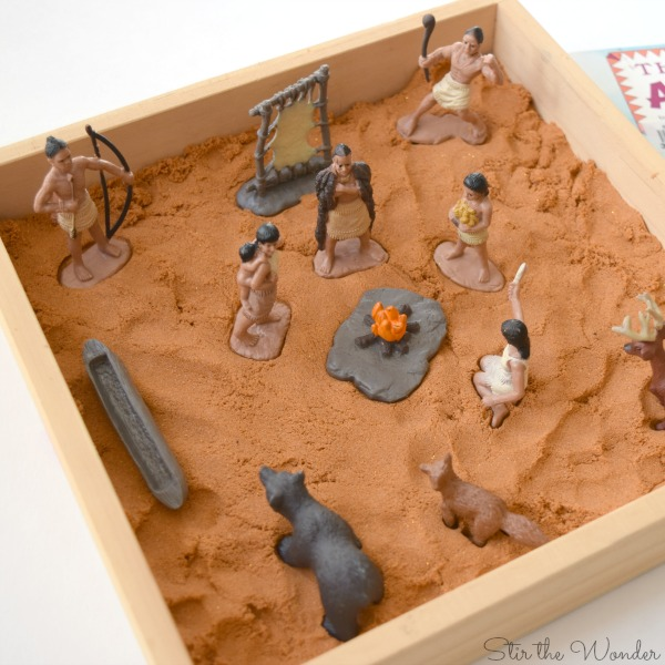 Native American kinetic sand small world sensory bin