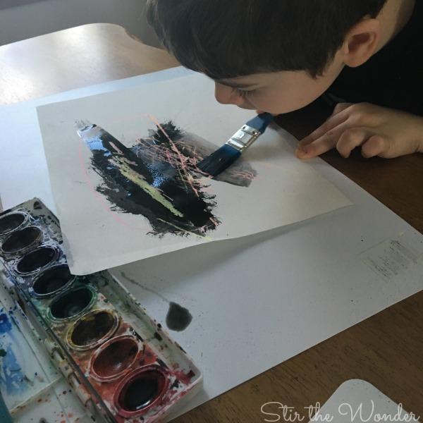 Crayon Resist Aurora Borealis