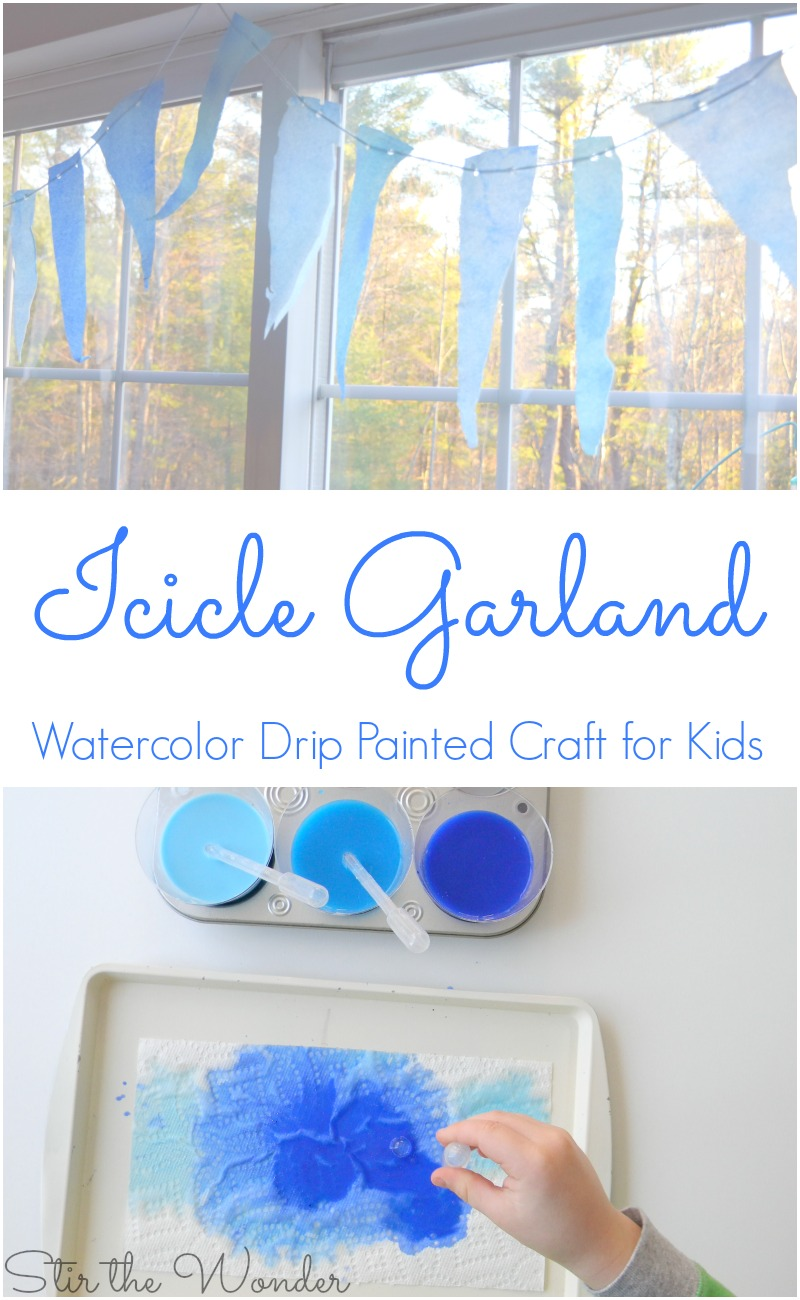 Icicle Garland Watercolor Drip Painted Craft for Kids