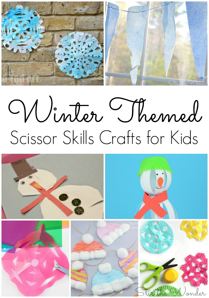 Winter Themed Scissor Skills Crafts for Kids