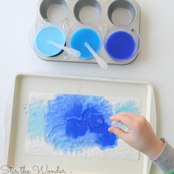 watercolor drip painting icicle garland craft for kids
