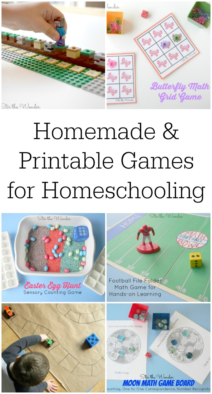Homemade and Printable Games for Homeschooling