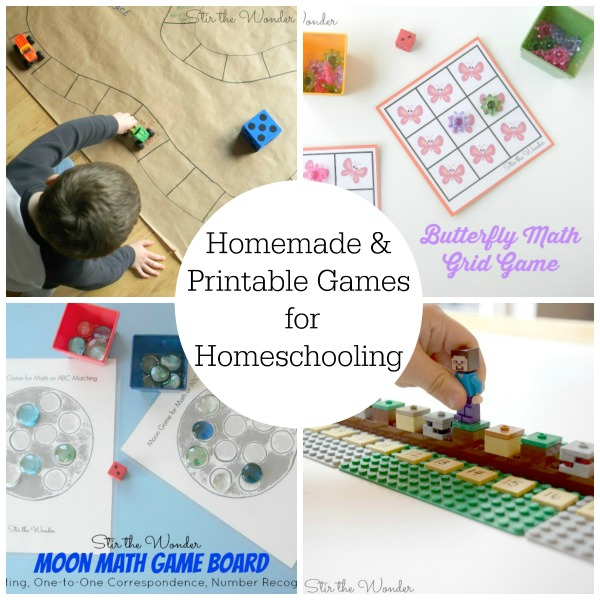 Try these homemade and printable games from Stir the Wonder to add some fun to your homeschool!