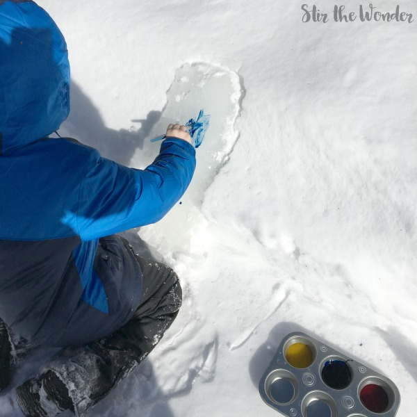 painting ice outside art activity