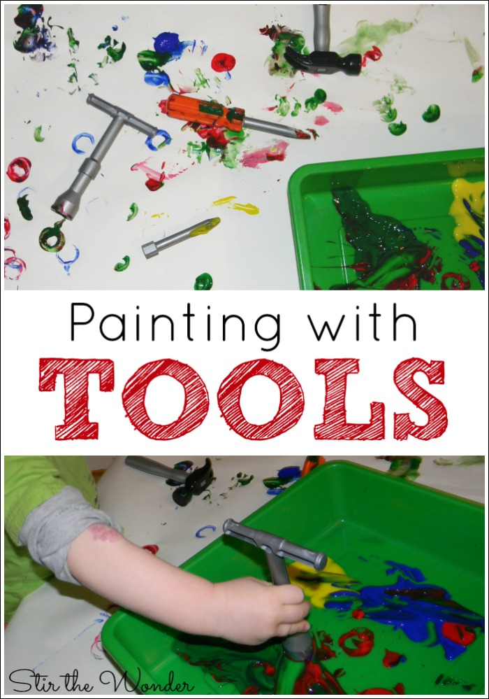 Painting with Tools is a fun process art activity for toddlers and preschoolers to explore colors and prints.