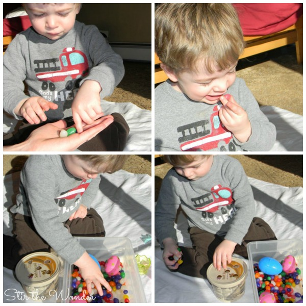 Jelly Bean Sensory Bin is a fun way to explore colors and flavors while working on fine motor skills!