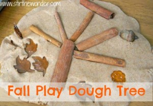 Set up a simple invitation to create a Fall Play Dough Tree. This is a wonderful fine motor activity for toddlers and preschoolers using play dough and fall themed loose parts!