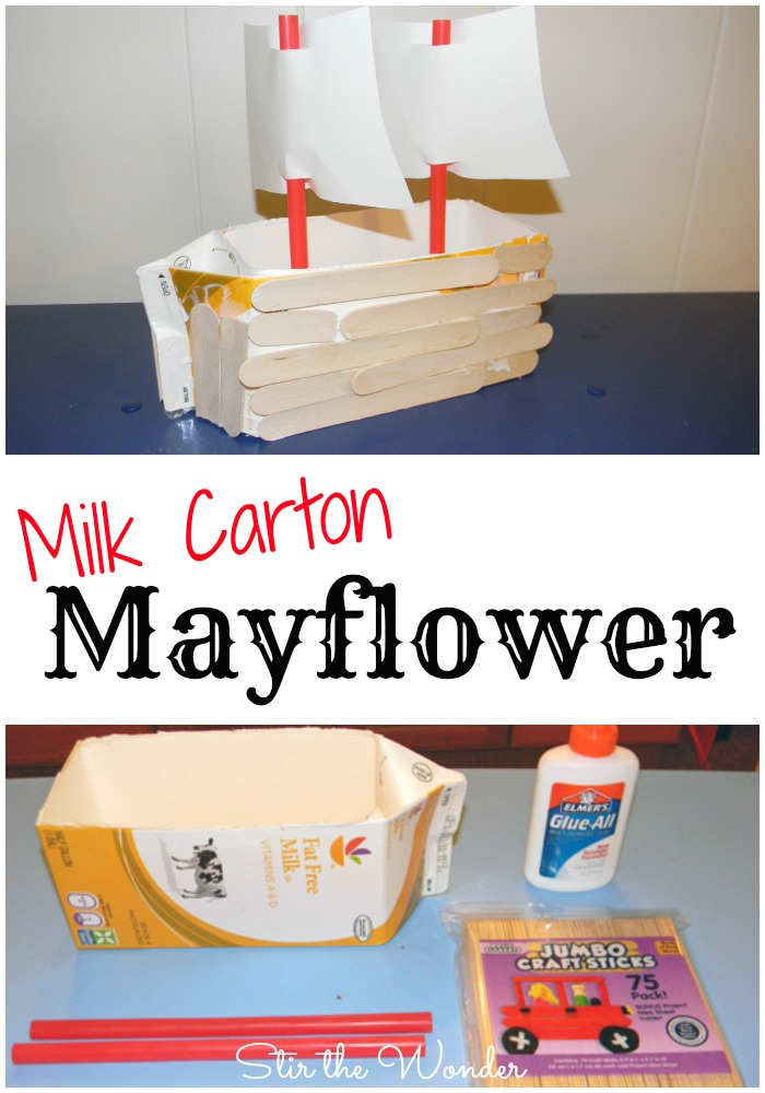 Milk Carton Mayflower | Stir the Wonder #kbn #thanksgiving #kidcraft