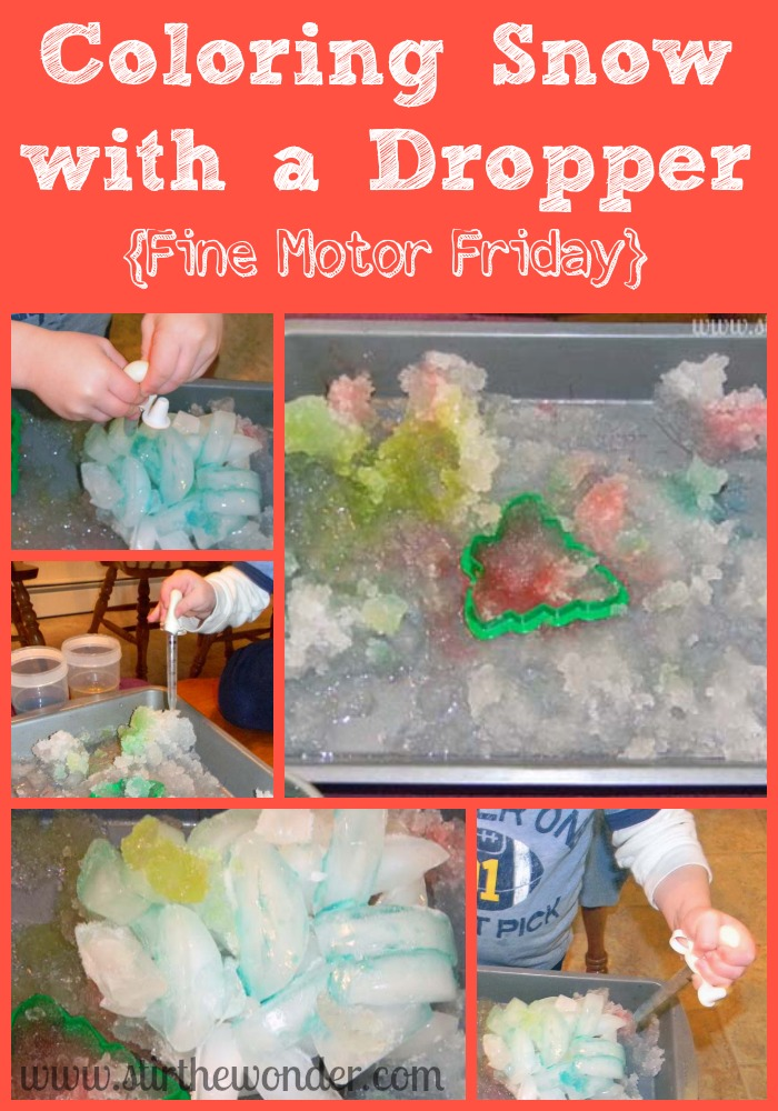 Coloring Snow with a Dropper | Stir the Wonder #kbn #finemotorfridays #finemotor