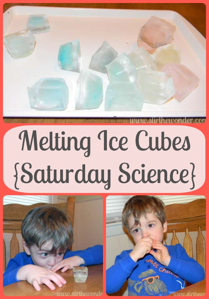 Melting Ice Cubes {Saturday Science} | Stir the Wonder #kbn #saturdayscience #science #preschool #homeschool