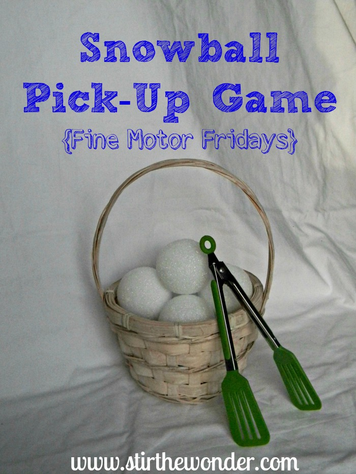 Snowball Pick-Up & Transfer {Fine Motor Fridays} | Stir the Wonder #kbn #finemotorfridays #finemotor