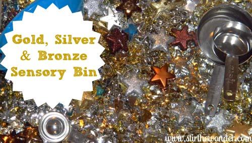 Gold, Silver & Bronze Sensory Bin {Hands-On Play Party} | Stir the Wonder #kbn #handsonplay #sensory #olympics