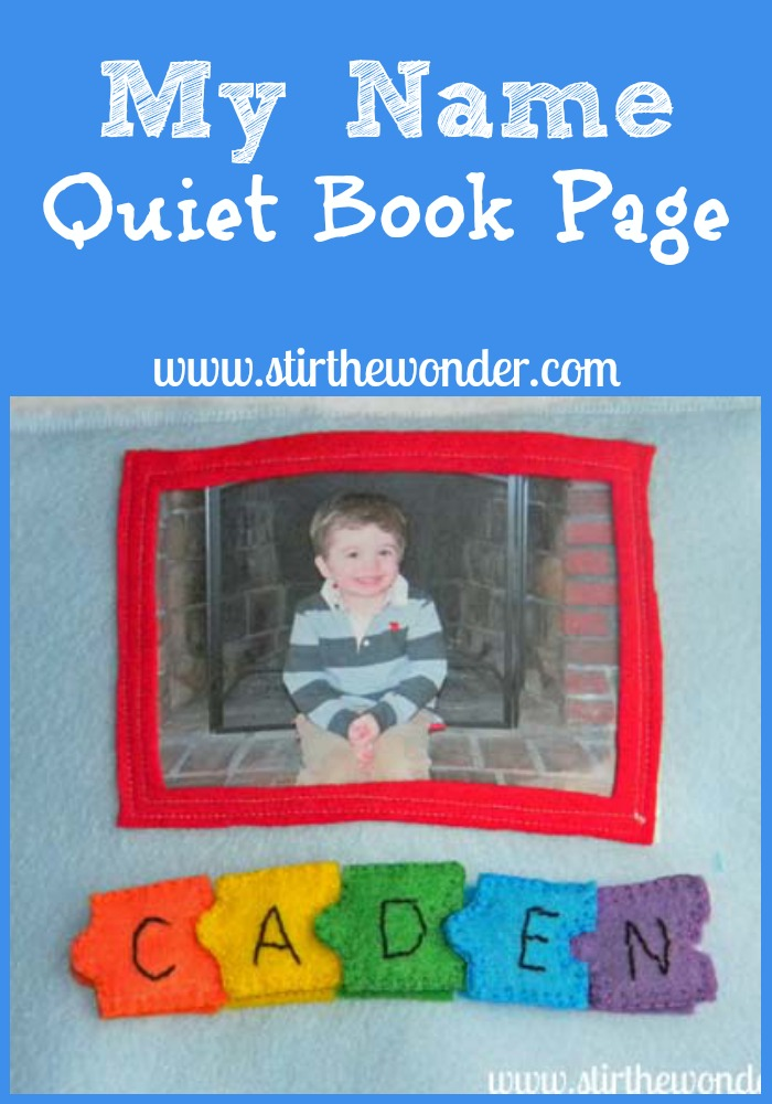 My Name Quiet Book Page {Hands-On Play Party} | Stir the Wonder #kbn #handsonplay #quietbook