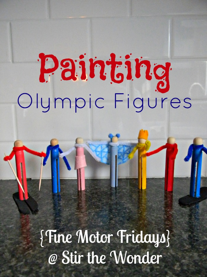 Painting Olympic Figures {Fine Motor Fridays} | Stir the Wonder #kbn #finemotorfridays #finemotor #preschool
