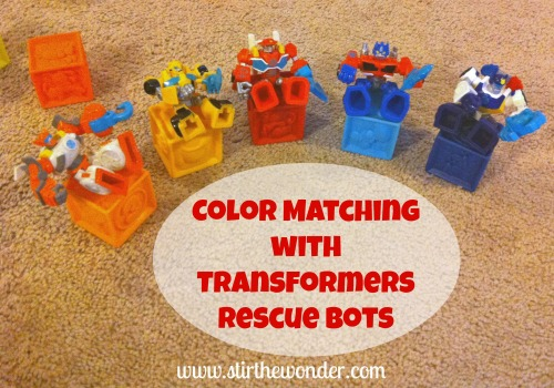 Color Matching with Transformers Rescue Bots {Hands-On Play Party} | Stir the Wonder #kbn #handsonplay #preschool