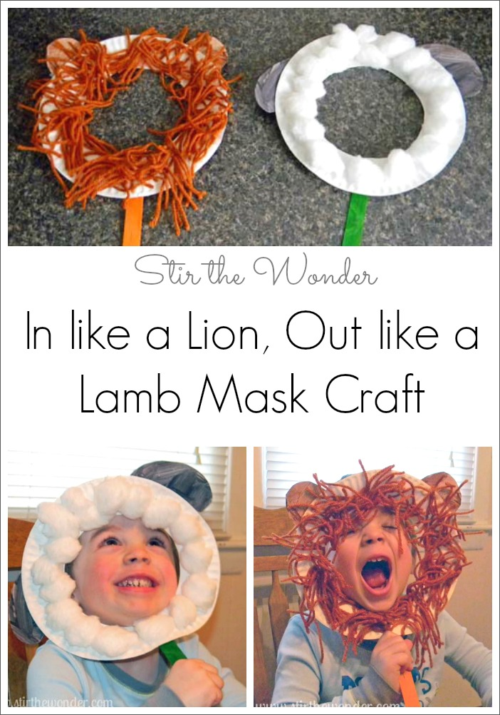 In Like a Lion, Out Like a Lamb Mask Crafts