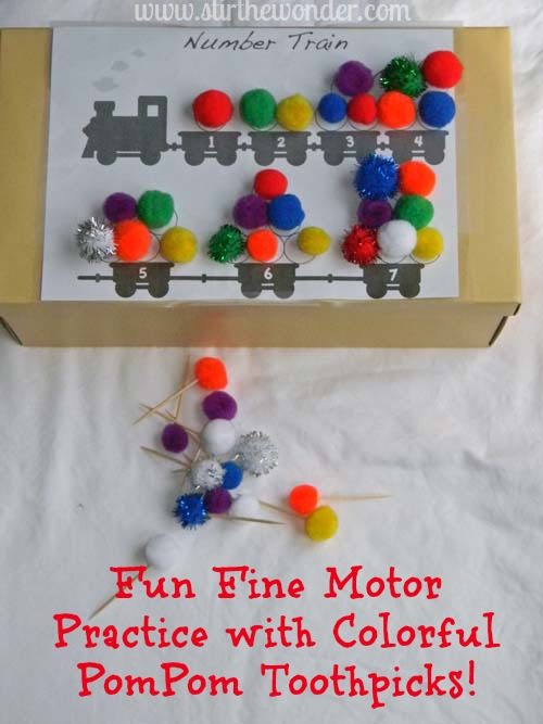 Colorful PomPom Toothpicks {Fine Motor Fridays} | Stir the Wonder