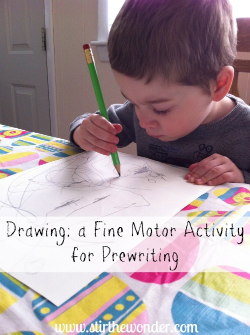 Drawing: a Fine Motor Activity for Prewriting {Fine Motor Fridays} | Stir the Wonder #kbn #finemotorfridays #preschool