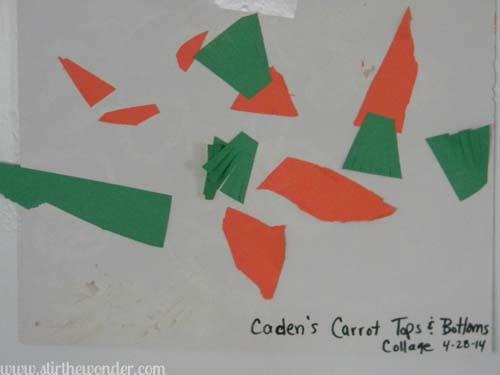 The Carrot Seed Collage | Stir the Wonder #bfiar #handsonplay #preschoolart