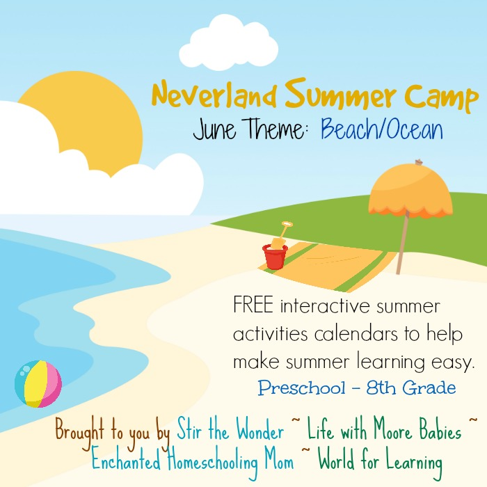 Neverland Summer Camp for Preschool & Kindergarten June Calendar- Beach/Ocean