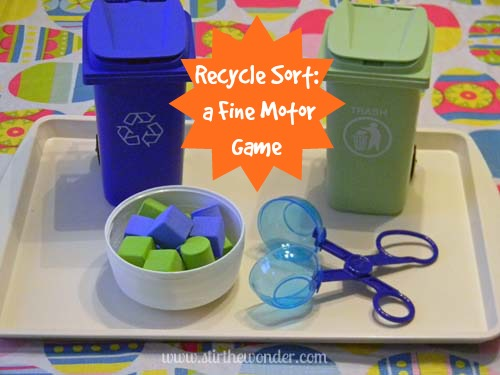 Recycle Sort: a Fine Motor Game | Stir the Wonder #finemotorfridays #kbn #preschool