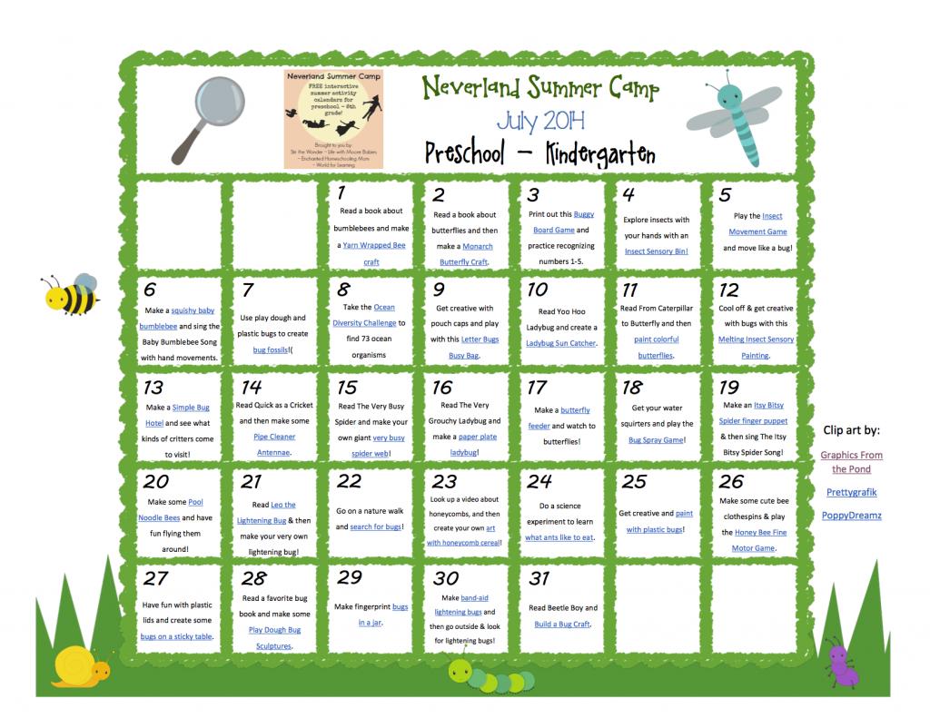 Neverland Summer Camp Preschool - Kindergarten Calendar July 2014