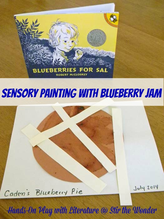 Sensory Painting with Blueberry Jam | Stir the Wonder #handsonplay #kbn #bfiar