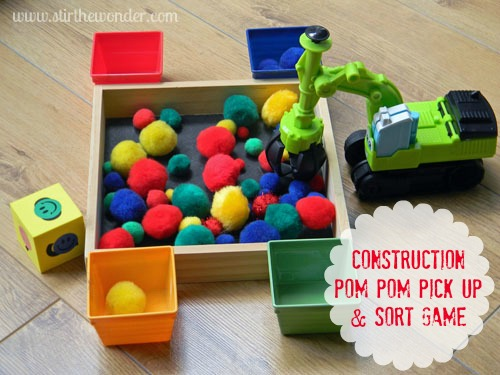 Construction Pom Pom Pick Up & Sort Game | Stir the Wonder #finemotorfridays #finemotor #kbn