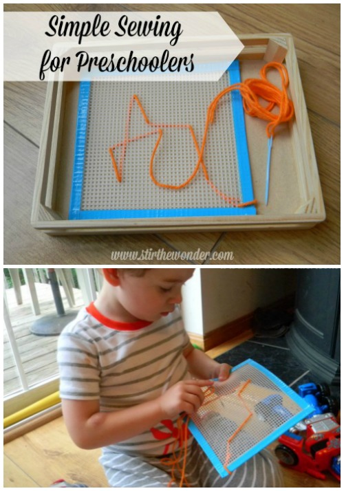 Simple Sewing for Preschoolers is an excellent fine motor activity.