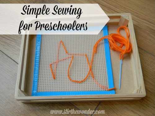 Simple Sewing for Preschoolers | Stir the Wonder #finemotorfridays #kbn #preschool