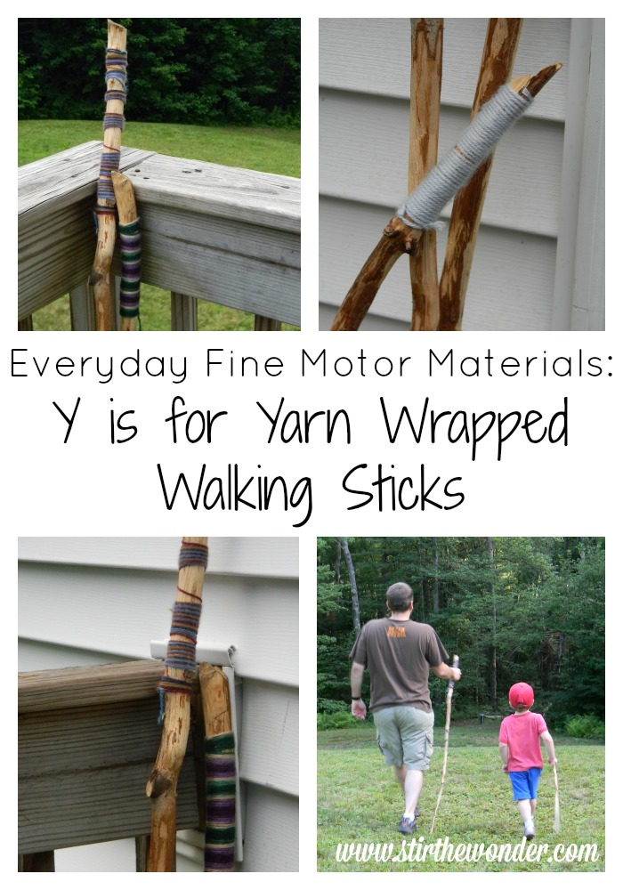 Yarn Wrapped Walking Sticks | Stir the Wonder #finemotor #kbn #preschool