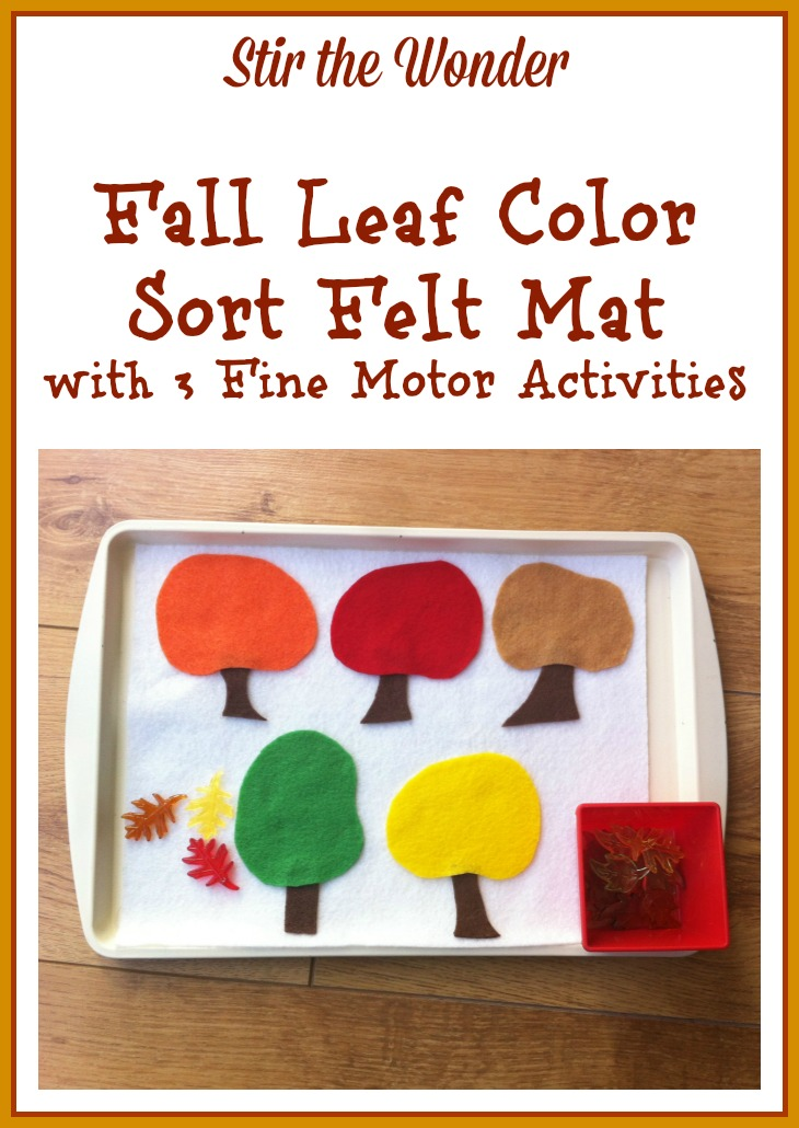 Fall Leaf Color Sort Felt Mat