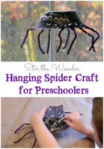 Hanging Spider Craft for Preschoolers | Stir the Wonder #finemotorfridays #finemotor #preschoolcrafts #halloween #kbn