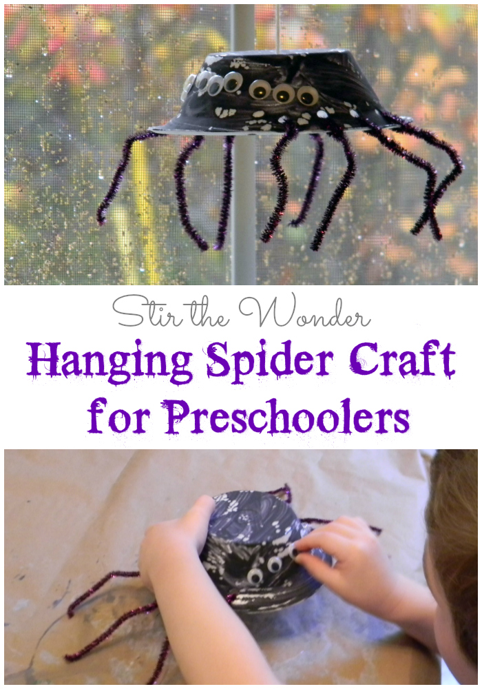 Hanging Spider Craft for Preschoolers | Stir the Wonder #finemotorfridays #finemotor #preschoolcrafts #halloween #kbn