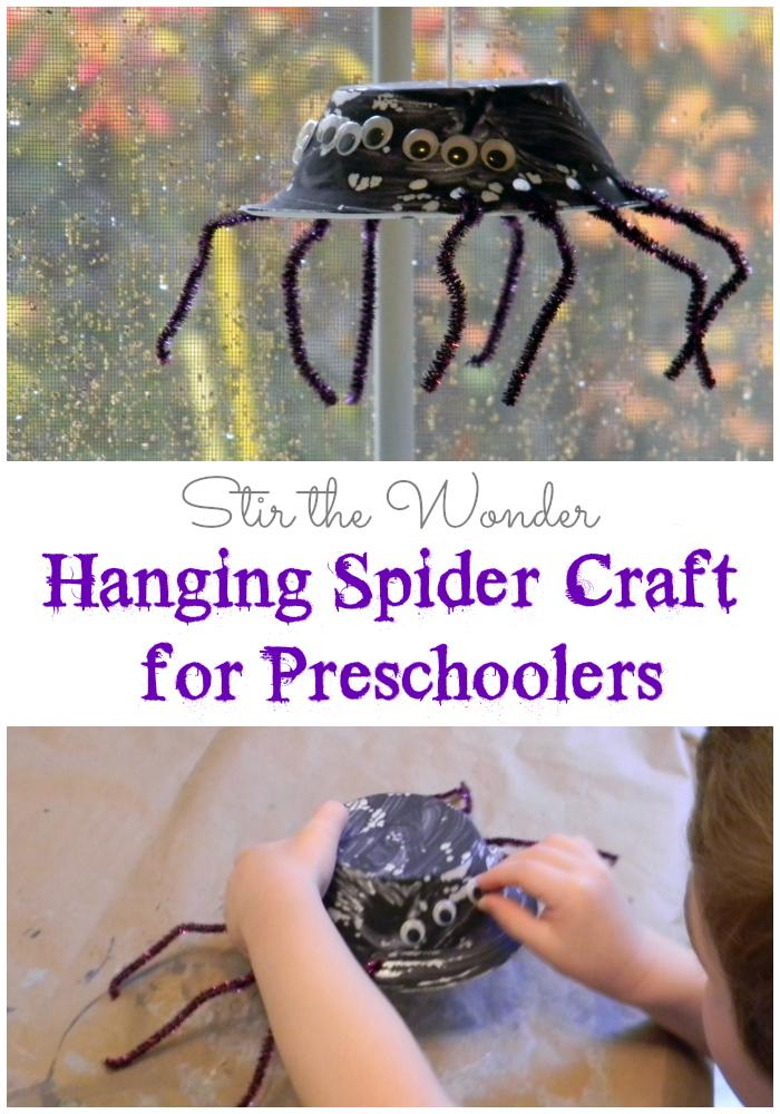 Hanging Spider Craft for Preschoolers   Stir the Wonder #finemotorfridays #finemotor #preschoolcrafts #halloween #kbn