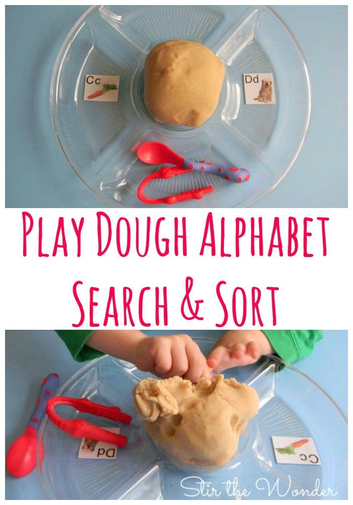 Play Dough Alphabet Search & Sort, adapted from 99 Fine Motor Ideas for Ages 1 to 5 | Stir the Wonder #finemotorfriday #finemotor #preschool