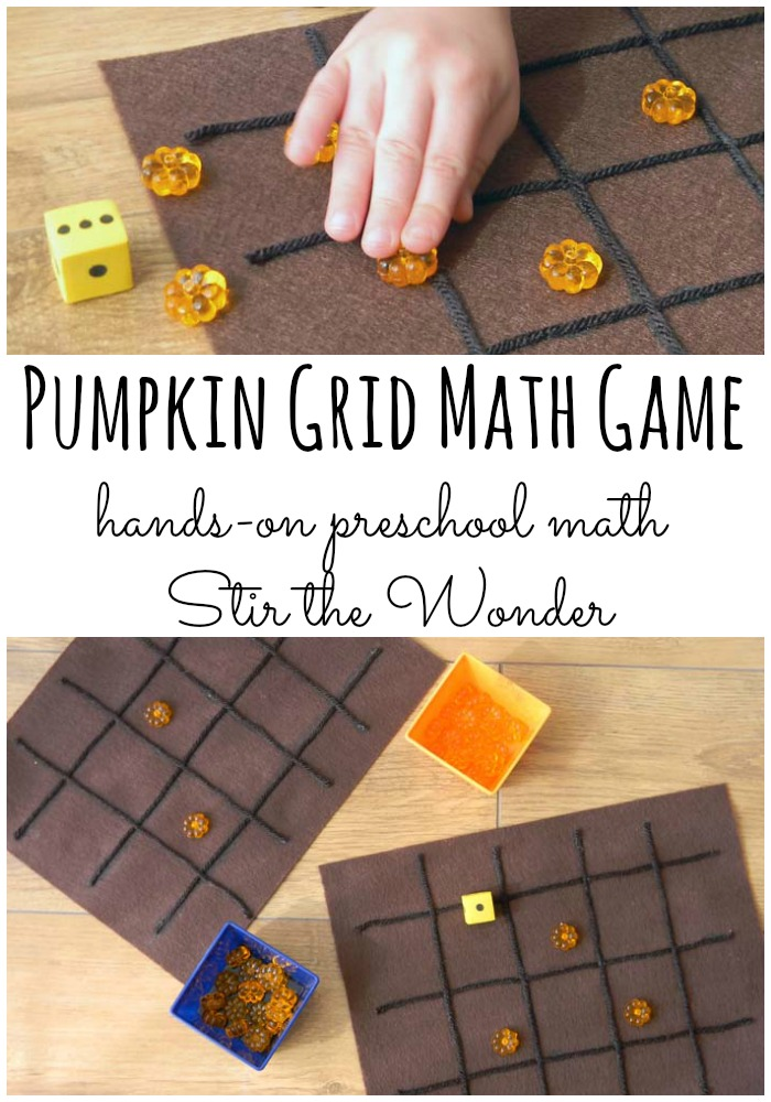 Pumpkin Grid Math Game | Stir the Wonder #handsonmath #preschoolmath #preschool #kbn