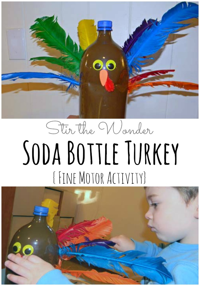 Soda Bottle Turkey | Stir the Wonder #kbn #thanksgiving #finemotorskills #finemotorfridays