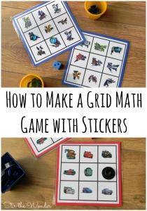 How to Make a Gird Math Game with Stickers | Stir the Wonder #preschoolmath #STEM #kbn