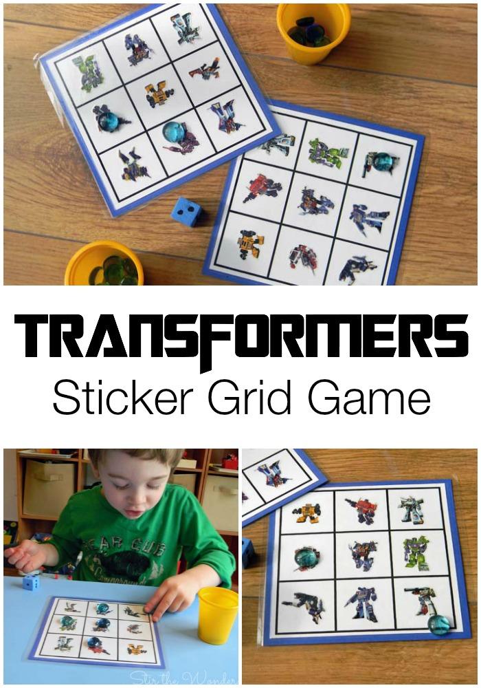 Transformers Sticker Grid Game | Stir the Wonder