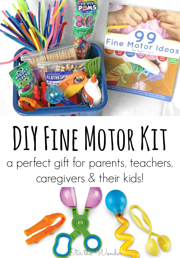 Making a DIY Fine Motor Kit is easy & afforadable! Plus it's a perfect gift for parents, teachers, caregivers & their kids! Occupational Therapists will love it too! Plus a great giveaway for 2 copies of 99 Fine Motor Ideas!