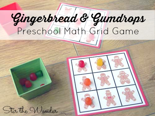 Gingerbread & Gumdrops Preschool Math Grid Game | Stir the Wonde