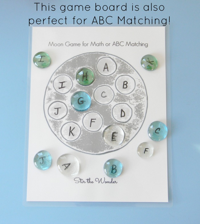 The Moon Game Board can also be used for toddlers and preschoolers to practice ABC recognition!