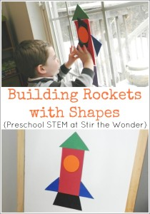 Building Rockets with Shapes is a fun, hands-on geometry activity for preschoolers! | STEM Saturday at Stir the Wonder