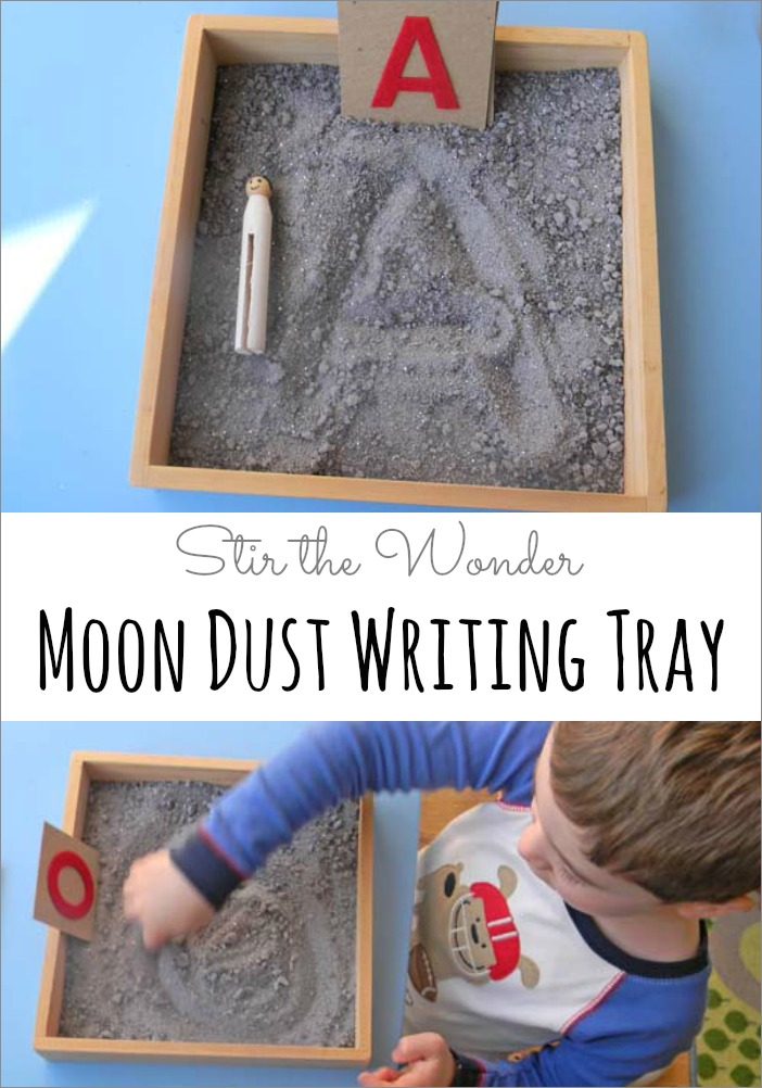 Moon Dust Writing Tray | A fun space-themed twist on the classic salt writing tray!