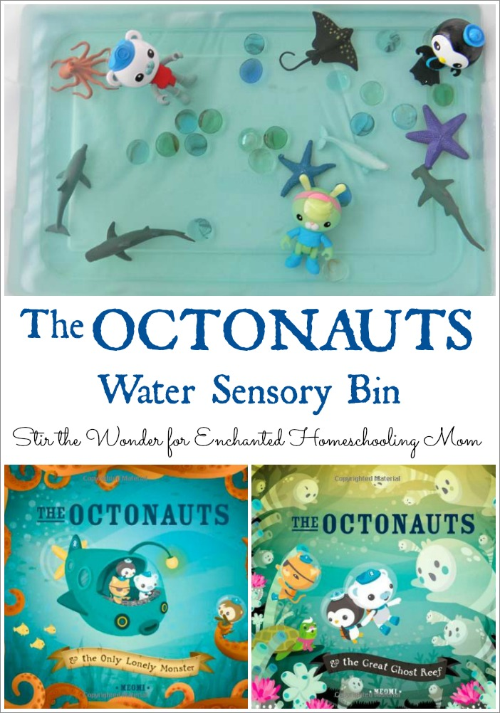 The Octonauts Water Sensory Bin is a simple sensory bin to create that goes along with the Octonaut books by MEOMI!