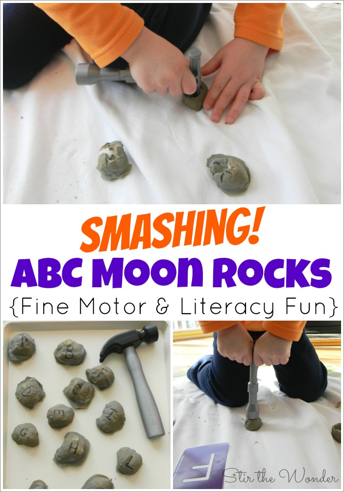 Smashing ABC Moon Rocks is a fun space themed twist on the classic baked cotton balls activity! This fine motor activity included ABC matching & is a hands-on way for toddlers & preschoolers to practice letter recognition!